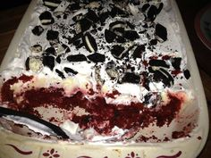 INGREDIENTS:  1 box Red Velvet Cake mix  1 can Diet Pepsi (or diet coke)  2 pkg. Sugar-Free Fat Free Cheesecake pudding  4 cups milk  1 tub Cool-Whip (I used Sugar-Free), thawed  10 oreos or 2-3 packs of Oreo 100 Calorie Packs