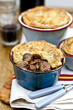 Beef, Guinness, and mushroom pot pie Review:  Wonderful and rich. I did mix a little of the remaining Guinness with a tablespoon of cornstarch just to thicken up the liquid some before topping with the puff pastry.