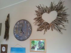 Driftwood heart Driftwood, Clock, Mirror, Heart, Wall, Diy, Furniture, Home Decor, Watch