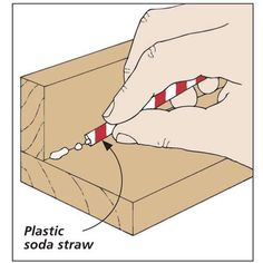 Use straw to scoop up squeezed out glue