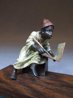 Vienna bronze Orientalist boy writing sculpture