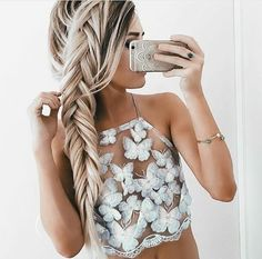 Summer Sexy White Mesh Lace Crochet Bralette Bustier Crop Top Women Casual Hollow Short Camis Tank Tops from Crystalline. Saved to Clothes. Halter Crop Top, Halter Neck, Lace Tank, Lace Bustier, Mode Inspiration, Woman Inspiration, Coachella, Hair Goals, Braided Hairstyles