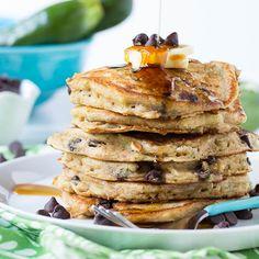 Chocolate Chip Zucchini Bread Pancakes. Made these GF/DF with quail eggs--SO GOOD