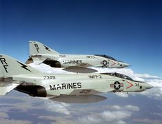 A right rear view of two RF-4B Phantom II aircraft of Marine Photo Reconnaissance Squadron Three over El Toro Marine Corps Air Station durin...