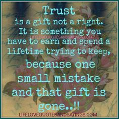 Trust is a gift not a right. It is something you have to earn and spend a lifetime trying to keep, because one small mistake and that gift is gone!