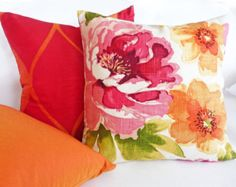 Watercolor Floral Pillow, 18, 22, 26 Inch, Colorful Throw Pillows, Pink Red Orange Green, Accent Pillow, Large Flowers, Cushion Covers