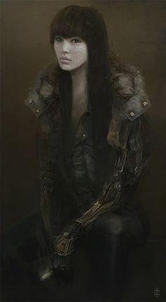 Cyborg Girl, Eve Ventrue on ArtStation at https://www.artstation.com/artwork/JwVZ