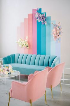 Gallery - If Lisa Frank Had a Pastel Rainbow Wedding This Would Be It Home Room Design, House Design, Pastel Home Decor, Pastel Interior, Pastel Room, Pastel Colors, Living Room Decor, Bedroom Decor, Home Decor Furniture