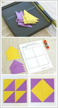 Geometry for Kids: Quilt Activity Using Triangles (Free Printable) - Buggy and Buddy Math Classroom, Kindergarten Math, Teaching Math, Math Art, Fun Math, Cool Math For Kids, Geometry Activities, Preschool Activities, Paper Quilt