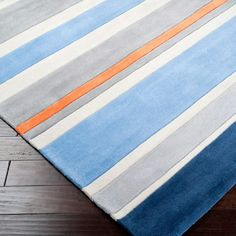 Chic Striped Gray/Blue Hand Tufted Rug