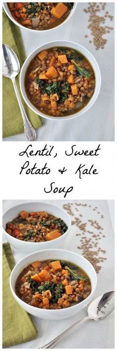Make this healthy lentil sweet potato kale soup tonight. This healthy soup recipe is packed with fiber, protein and yummy veggies. Vegan and gluten free.