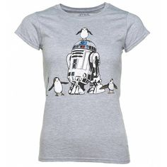 Women's Grey Marl Star Wars Episode VIII R2-D2 And Porgs T-Shirt ($23) ❤ liked on Polyvore featuring tops, t-shirts, marled tee, marled top, gray tees, grey top and gray top