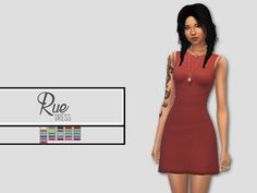 Ooh look! It's so different! This dress is a variation of the RUE dress, but with a flared bottom end. Found in TSR Category 'Sims 4 Female Everyday'
