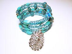 Boho Style Cuff BraceletWomen's Blue Boho by AllYouNeedIsBeads