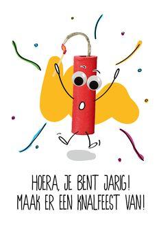 OMG Wenskaart Vuurwerk/Knalfeest Birthday Wishes, Happy Birthday, Lyric Quotes, Birthdays, Funny, Pallet, September, Cards, Gifts