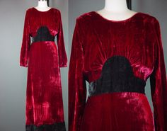 Vintage 70s Hippie Maxi Dress 1970s Red Velvet by mustangannees, $184.00