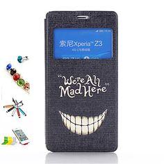 tann mønster pu lær med pekepenn anti-støv plugg og stå hele kroppen tilfeller for Sony Xperia z3 – NOK kr. 79