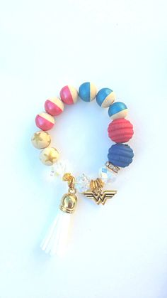 Wonder Woman Charm Beaded Tassel Bracelet/Star Bracelet/Handmade Bracelet/ Girls Bracelet by TheRockinBead on Etsy