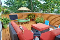 Before & After: Family-Friendly Deck outdoor deck - The couch set is the Angelo Napa Springs 3 Piece Horizontal Deck Railing, Wood Railing, Deck Railings, Outdoor Seating, Outdoor Spaces, Outdoor Living, Outdoor Decor, Screened In Deck, Balcony Deck