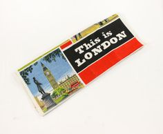 Vintage This is London Towel - City Landmark Paintings by Irish Cabin Linens- Black, Red, Blue - Novelty Souvenir Dish/Tea Towel MWOT