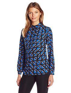 9aff0378910 Anne Klein Women s Long-Sleeve Tile-Print Top  The Esplaier print long  sleeve blouse is a fall necessity. It is a light weight