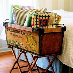 An antique fruit crate adds style and storage. More DIY furniture inspiration: w… An antique fruit crate adds style and Cageots Vintage, Vintage Crates, Old Crates, Wooden Crates, Wine Crates, Wooden Boxes, Vintage Baskets, Vintage Items, Furniture Makeover
