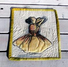 Mini art quilt quilt ballerina mixed media Edgar Degas Ballerine by Crearts on…