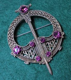 Vintage Celtic Sword & Shield Brooch / Kilt Pin * Gothic Pin-Back Brooch