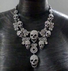 Multi skull necklace, silver, women's, apparel, accessory, goth, emo, heavy metal, rocker, rock star, punk, black, rock the f out, fashion