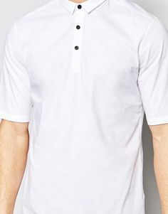 Image 3 of ASOS White Shirt With Mini Collar In Regular Fit