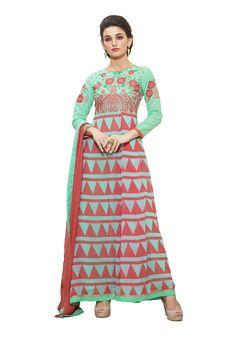 Semi Stitched Georgette Printed Anarkali Suit At Aimdeals.com