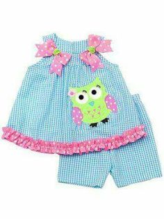 Product Description:Sleeveless turquoise check seersucker top with neon pink dotted bows at shoulders, neon green owl applique on the front and ruched trim at hem, over turquoise seersucker shorts … Baby Kind, My Baby Girl, Baby Girls, Girls 4, Toddler Girls, Little Girl Dresses, Girls Dresses, Toddler Outfits, Kids Outfits