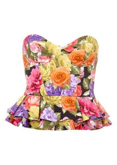 Hope and Glory pink, red and purple digital floral print frill corset top at topshopus.com ($70)