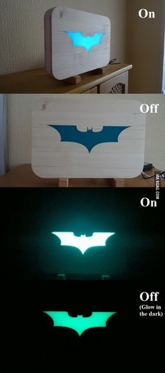 So I made a Batman light (Glow in the dark)