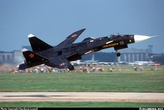 Sukhoi Su-47 Berkut (S-37) 01 blue MAKS 2001 airshow. Taking off to perform an exciting show.