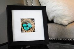 Love this DIY framed nest idea! So easy and perfect for spring. Get the how-to at www.mkainglemonadeblog.com #springcrafts #nest #spring