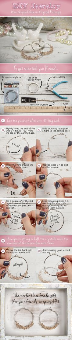 DIY Jewelry: Wire Wrapped Venezia Crystal Hoop Earrings