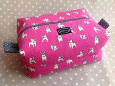 Large boxy pouch pink French bulldog fabric from by MadeIraBags