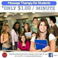 Massage Therapy for students (13 yrs and up) with Valid ID pay just $1 per minute. Minors must have parents present to sign paperwork. Available Mon-Thu during 9a-4p. Learn more online. Book online. Or call 980-354-LMBT for questions. #MHLrocksmysox #massagetherapy #carync #deeptissue #relax #performance #grades #exams #tests #higherlearning #teens #highschool #college #ncsu #duke #unc #merideth #gogreek #sisters  Massage & Healthy Living 980-354-LMBT Cary NC