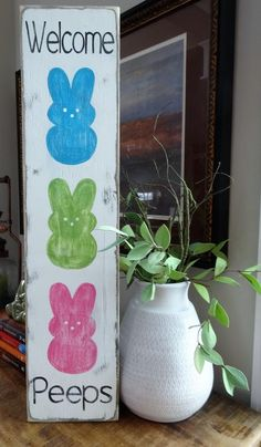 Welcome Peeps. Easter sign/ Peeps sign/ Easter decor/ Welcome vertical sign/ front door decor/ Spring wall decor Welcome Peeps. Easter sign/ Peeps sign/ Easter decor/ Welcome vertical sign/ front door decor/ Spring wall decor … Easter Peeps, Hoppy Easter, Easter Bunny, Easter Party, Easter Dyi, Easter Dinner, Easter Food, Easter Projects, Easter Crafts For Kids