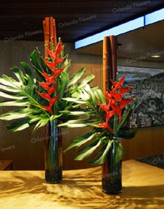 Heliconia and Monsteria - Reception Desk Contemporary Flower Arrangements, Tropical Flower Arrangements, Creative Flower Arrangements, Church Flower Arrangements, Ikebana Arrangements, Church Flowers, Beautiful Flower Arrangements, Beautiful Flowers, Wedding Arrangements