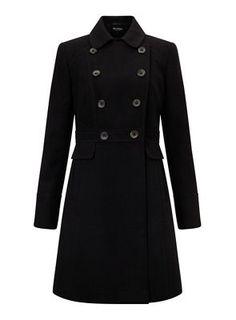 Miss Selfridge Black double breasted coat | Debenhams
