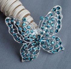 Butterfly Rhinestone Brooch Teal Aqua Turquoise Tiffany Blue Crystal Wedding Bridal Button Brooch Bouquet Cake Hair Comb BR309