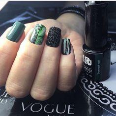 Caviar nails, Extravagant nails, Fashion nails 2017, Green polish nails ideas, Ideas of evening nails, Medium nails, Nails with stickers, Spring summer nails 2017