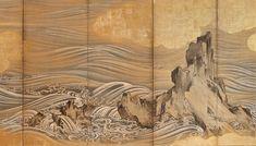 "Waves and Rocks | Tattoo Ideas & Inspiration - Japanese Art | Hasegawa Togaku - ""Waves and Rocks"" | San Francisco Asian Art Museum | #Japanese #Art"