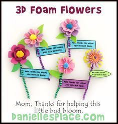 3D Foam Flowers with Note Mother's Day Craft Kids Can Make from www.daniellesplace.com