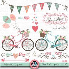 "Wedding Bike Clipart ""WEDDING CLIP ART"" pack,Vintage Flowers,Hand Draw,Wedding bike,Flourish Swirl,Wedding invitation Instant Download Wf031"