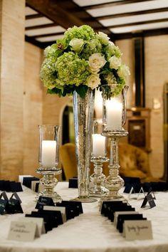 "Mercury Silver Tall Vase Wedding Centerpiece 24"" Clear Pilsner Trumpet Cone Vase"