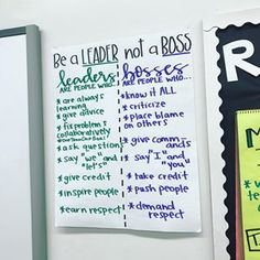 """be a leader, not a boss """"I want to be best friends with whoever invented the concept behind this anchor chart. 3rd Grade Classroom, Classroom Behavior, Classroom Community, Classroom Environment, Future Classroom, School Classroom, Classroom Ideas, Student Behavior, Classroom Posters"""