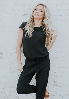 {Black Jumpsuit} on the lovely #lindsayarnold - this is the perfect outfit for fall, winter & summer fashion! It's comfortable, casual, yet easily dressed up, chic & modest! Buy yours today. | @albionfit